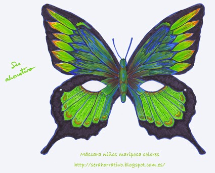 antifaz gratis niños mariposa coloreado