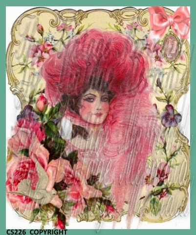 fabric block vintage lady in feather hat