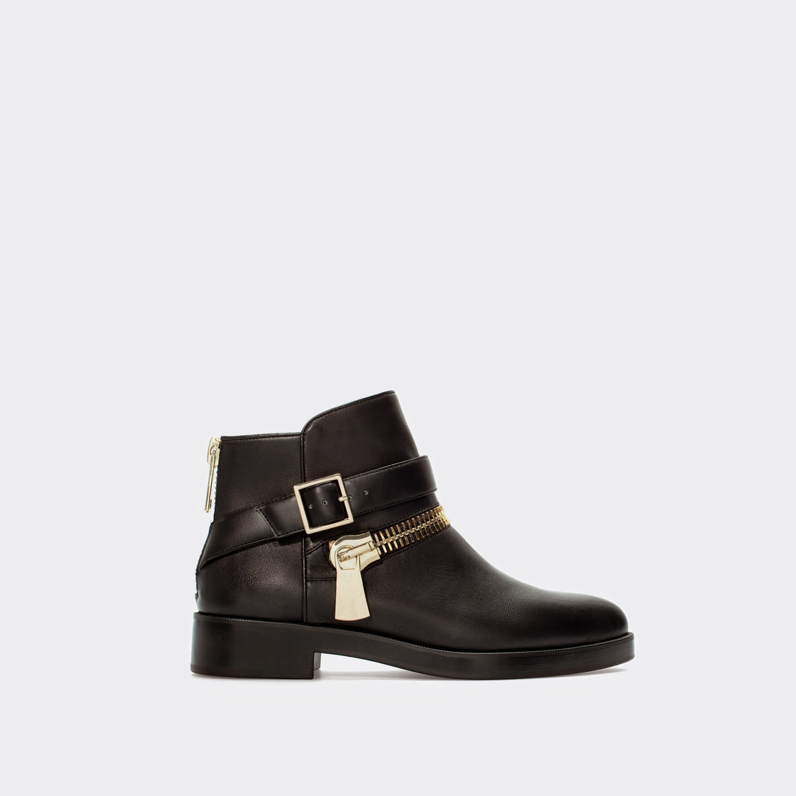 zara leather zip buckle boot