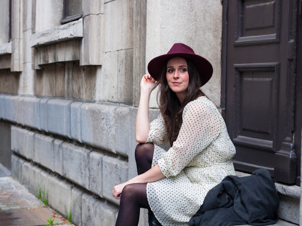 Outfit: fall bohémienne in polkadot dress, wide brim hat