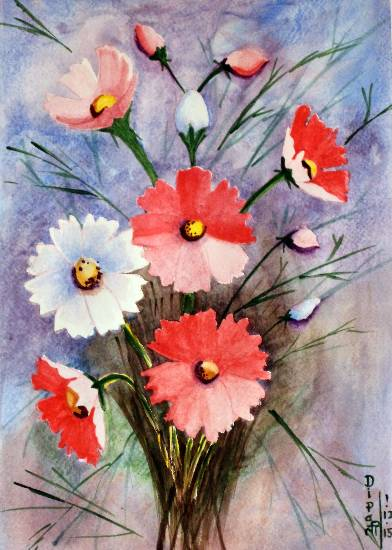 Cosmos Flowers - 1 by Dipali Deshpande ( part of her portfolio on Indiaart.com )