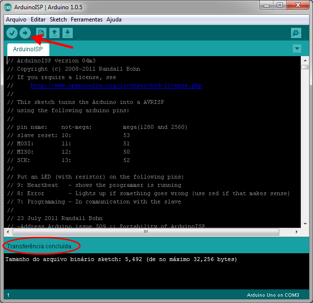 Carregando sketch ArduinoISP no Arduino Uno