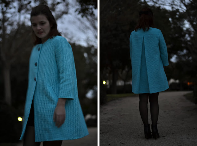 Ninot jacket pattern, swing coat, back pleat, blue coat