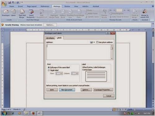 Membuat Label Undangan dengan Ms Word 2007 dan Ms. Excel