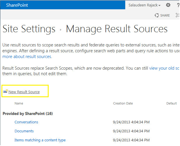 SharePoint 2013 Federated Search Configuration