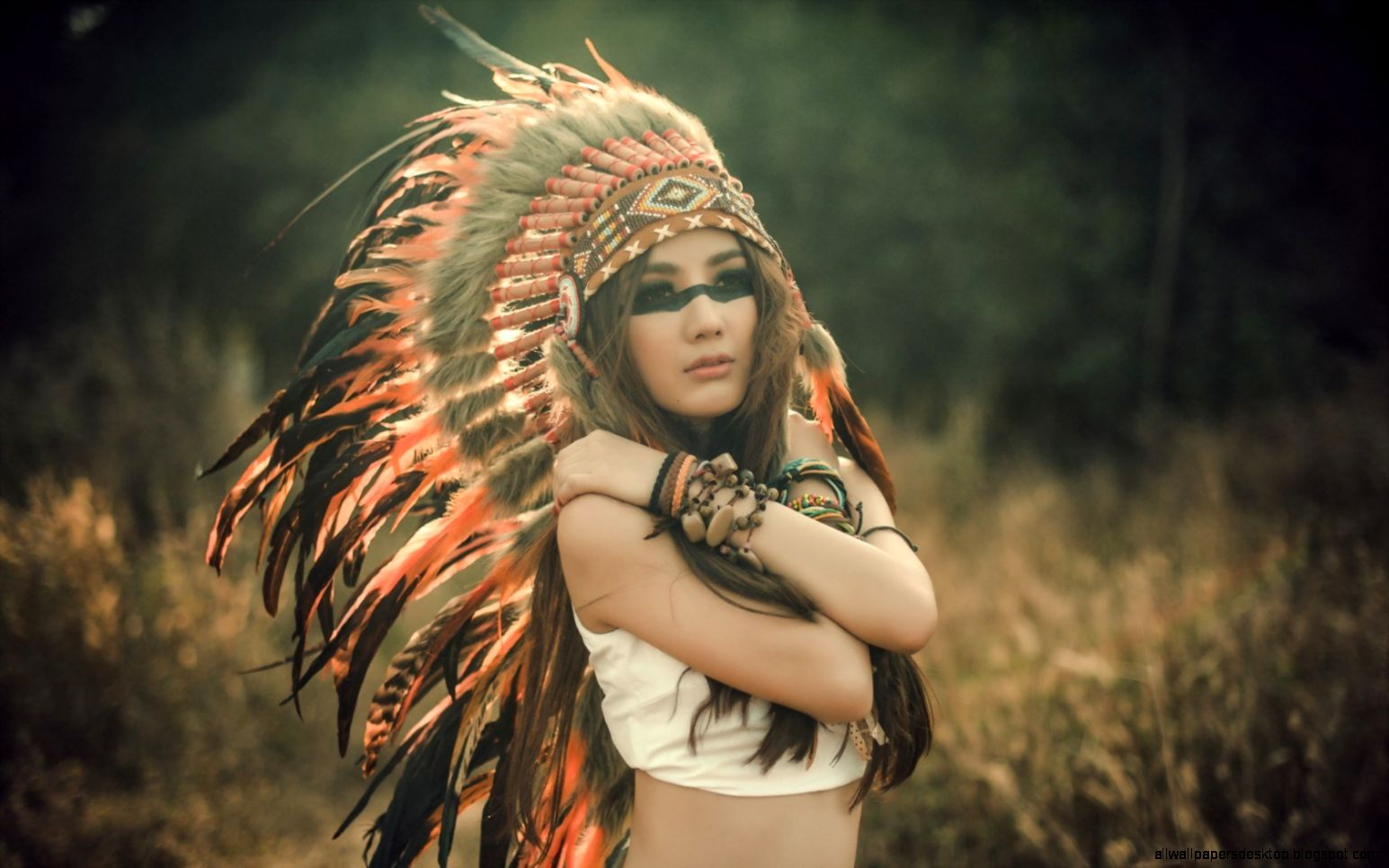 Brunette Girl Indian Headdress 6962379