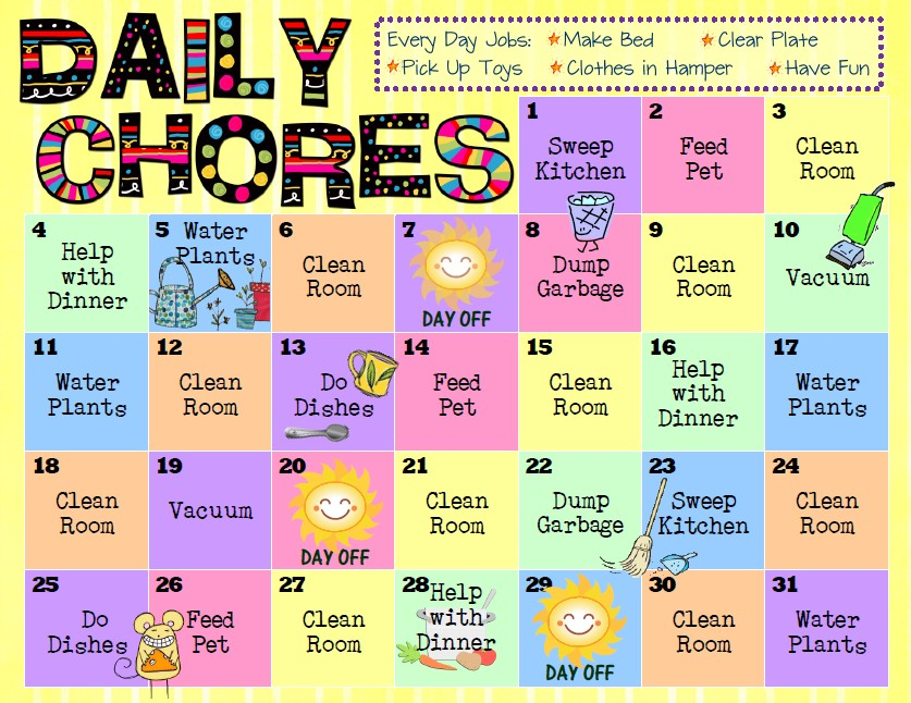 criss cross applesauce: Chore Charts for Kids Chore Chart Clip Art