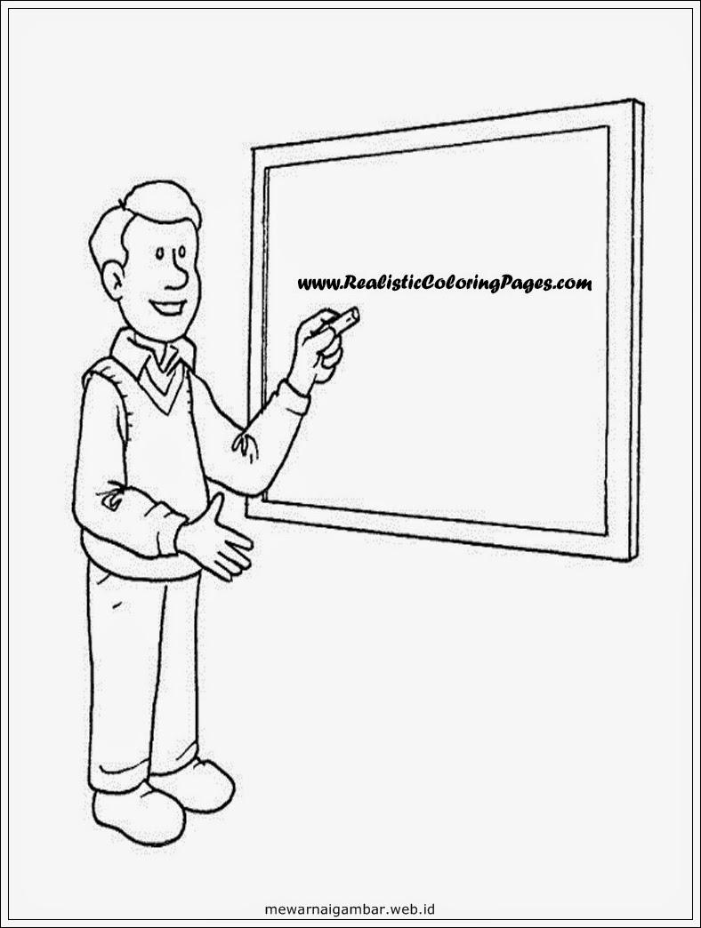 Mewarnai gambar guru