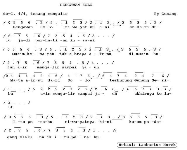 angka pianika lagu bengawan solo gesang