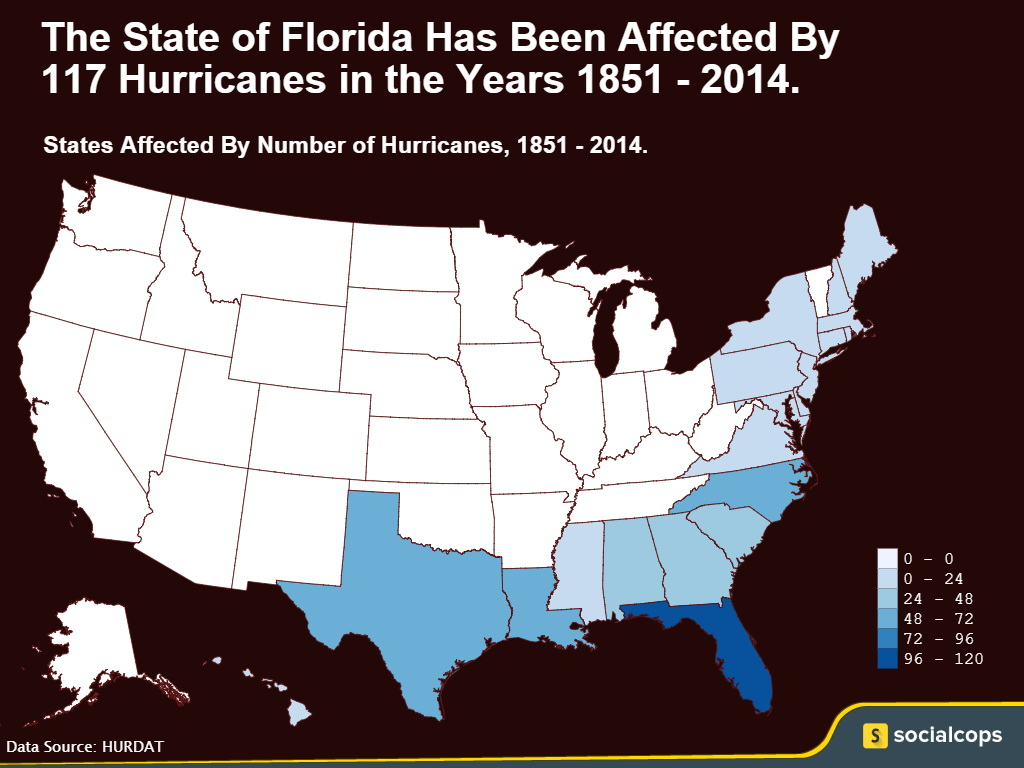 Map showing number of hurricanes that have affected each state in the US