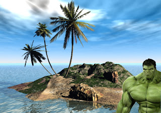 Hulk Free Wallpapers Mad Green Monster at the corner in 3D Island background