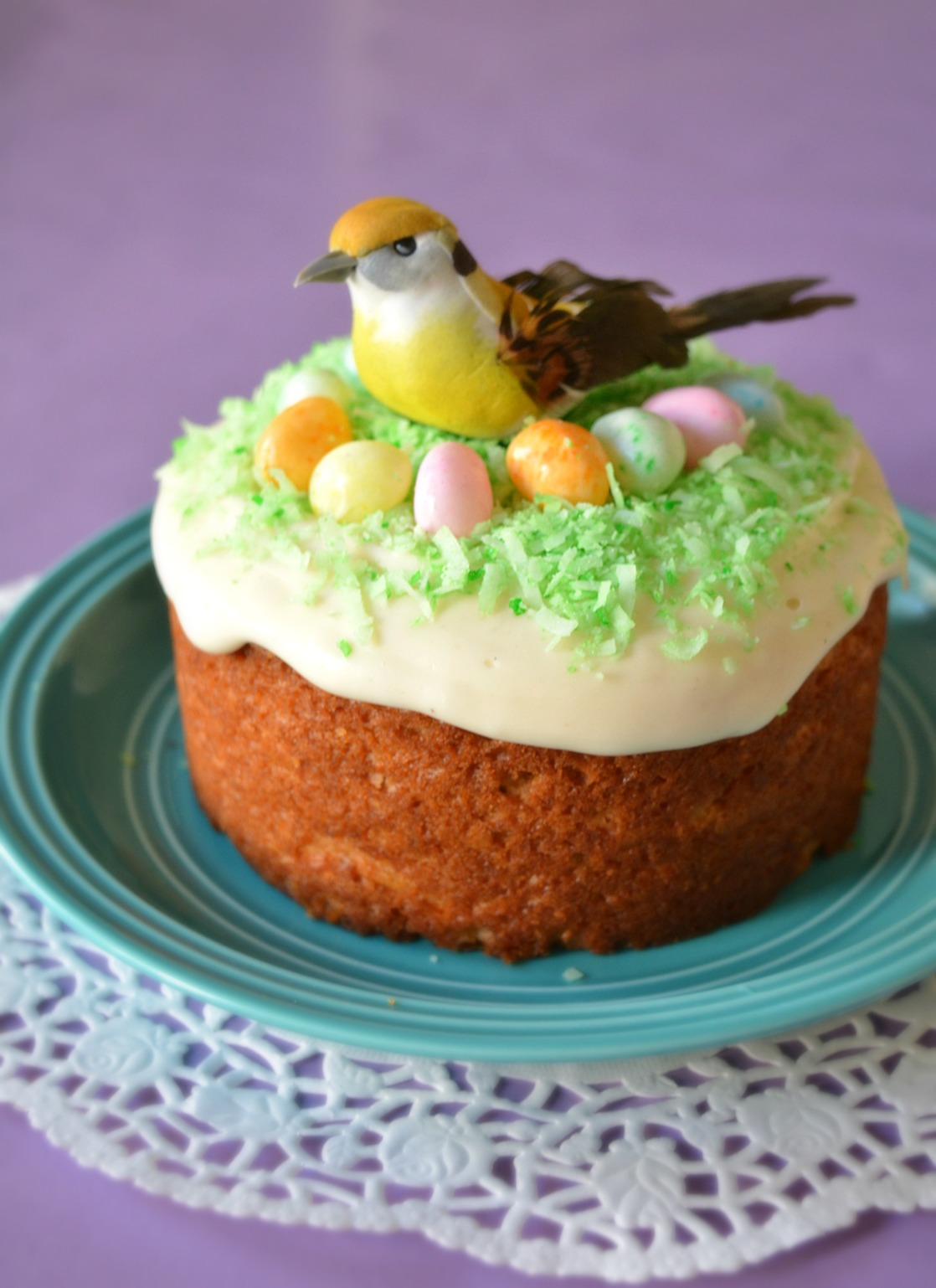 Easter Bird's Nest Cake - Eggless Carrot cake recipe