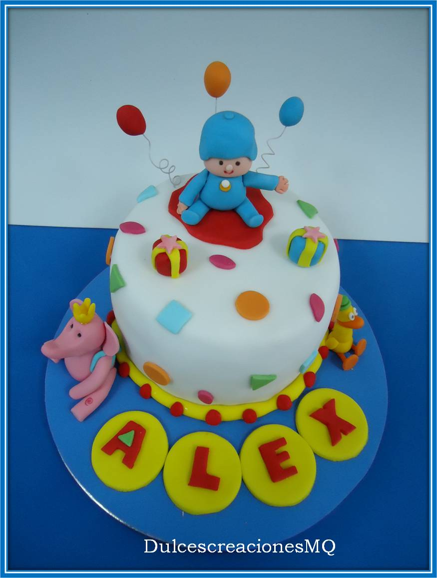 Cumpleaños Aniversario Niño Pocoyó Eli Pato Colores Divertido Pastel Tarta Fondant Buttercream Chocolate Frambuesa Vainilla Victoria Sponge Cake
