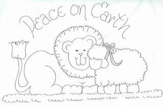 Risco para pintura de Leão e ovelha