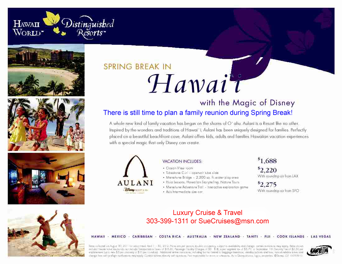 Luxury Cruise Amp Travel Spring Break At Aulani In Hawaii