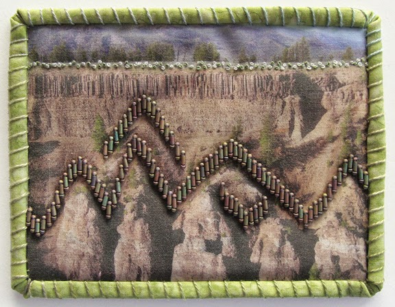Robin Atkins, Travel Diary quilt, rock formations, Yellowstone National Park