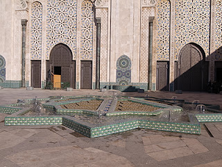 Fountain in the courtyard of Hassan II Mosque