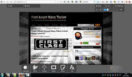 Pixlr Express halaman editor