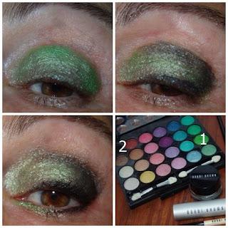 maquillaje de ojos verde metalizado