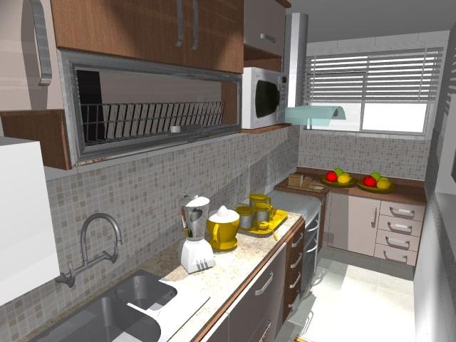 """Cozinha em """"L""""valorizada pelas cores diferentes: Madeira com frentes"""