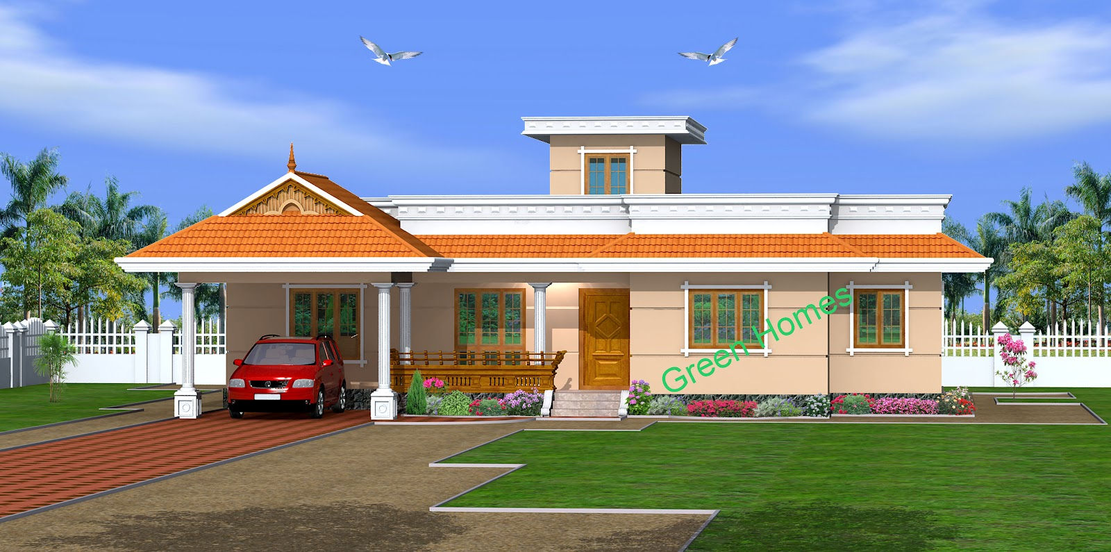 Lovely Single Storey Kerala Home Design 1650 Sq.feet