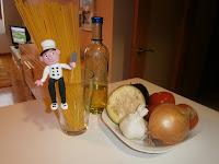 Pasta con berenjena. (Espaguetis con vegetales)
