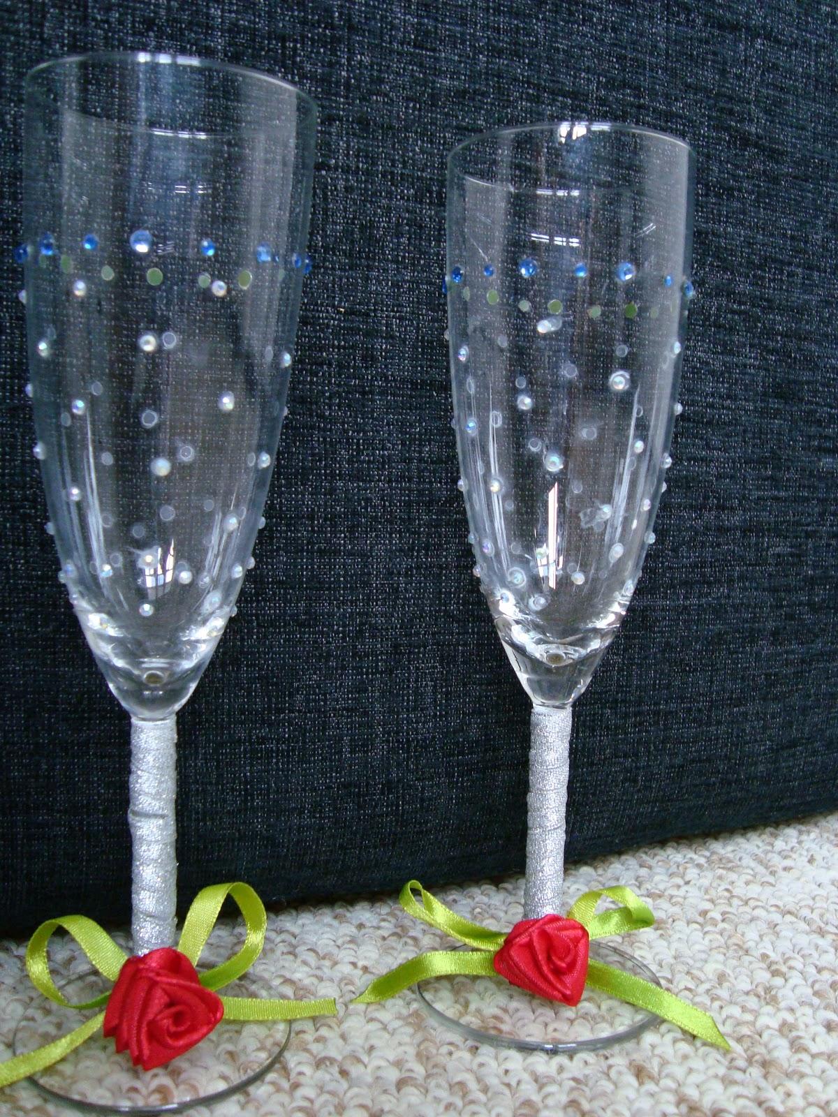 Украшение свадебных бокалов своими руками: 100 мастер классов 42