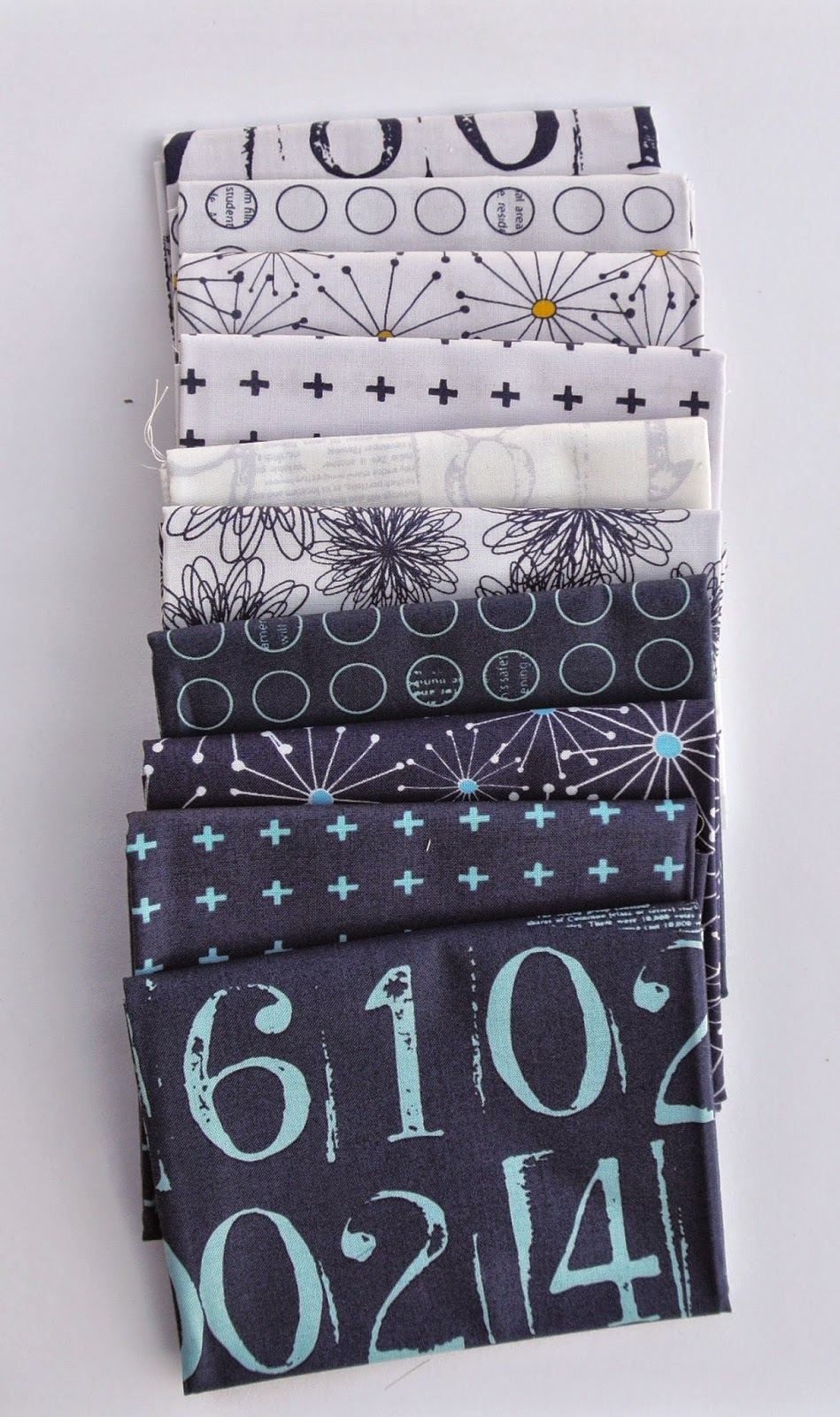 Navy and White Low Volume Fabric