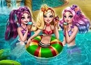 The girls of Ever After High are having a pool party and they're inviting you to get ready with them. Join Apple White, Raven Queen and Madeline Hatter in a royal beauty prep before the fun begins. Once you've finished the makeover you can enjoy delicious ice creams and cocktails with the girls and dance 'till midnight.