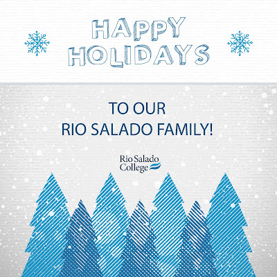 Greeting card image with winter trees and snowflakes.  Text: Happy Holidays to our Rio Salado Family.