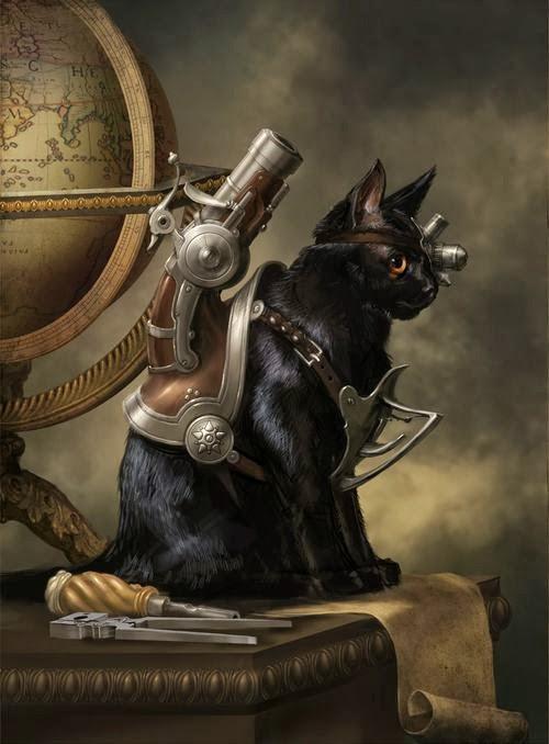 gatos con indumentaria steampunk
