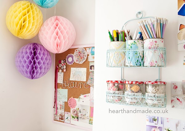painted shower caddy and bonne kaman storage jars - pom poms and inspiration memo aboard