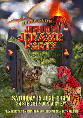 Dinosaur/Jurassic Personalized  Invitation with photo