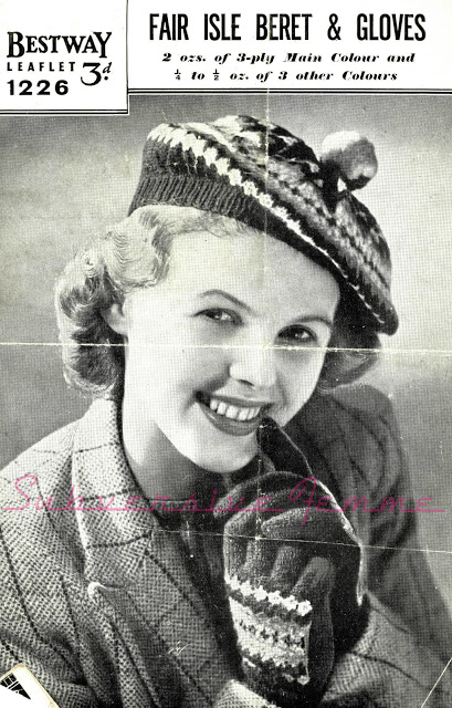 1940's Knitting pattern for a Fair Isle Beret and Mittens
