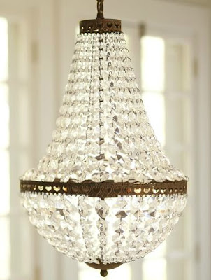 Mia Chandelier by Pottery Barn for master bathroom makeover at From My Front Porch To Yours.
