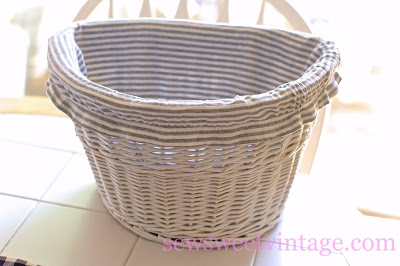 diy striped basket liner made with up-cycled tank top