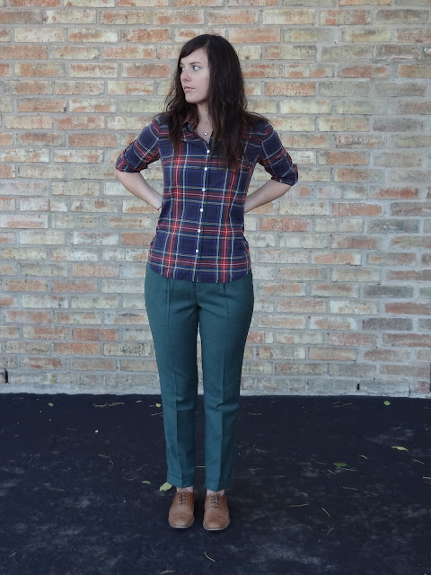 tartan plaid jcrew shirt and madewell trousers