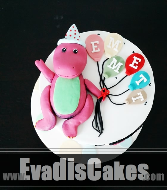 Full view picture of baby Barney cake