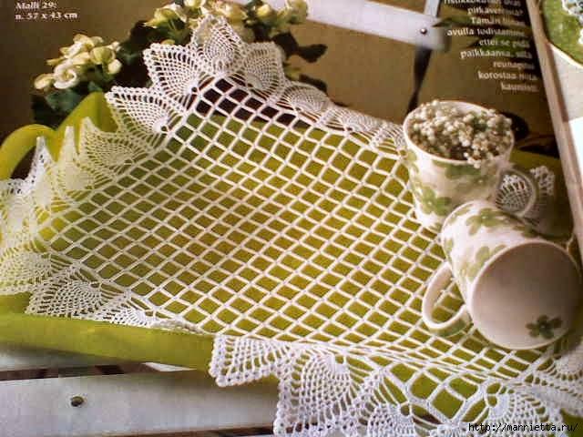 Mantel o carpeta rectangular tejida con ganchillo - con esquema y patrón