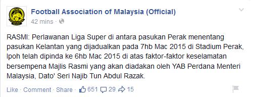 Perlawanan Perak Dan Kelantan Dipinda Tarikh