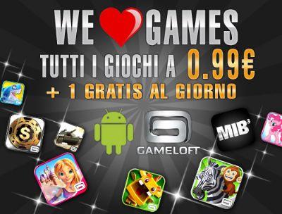 Attiva per i giorni 14 e 15 febbraio 2013 la promozione We love Games di Gameloft
