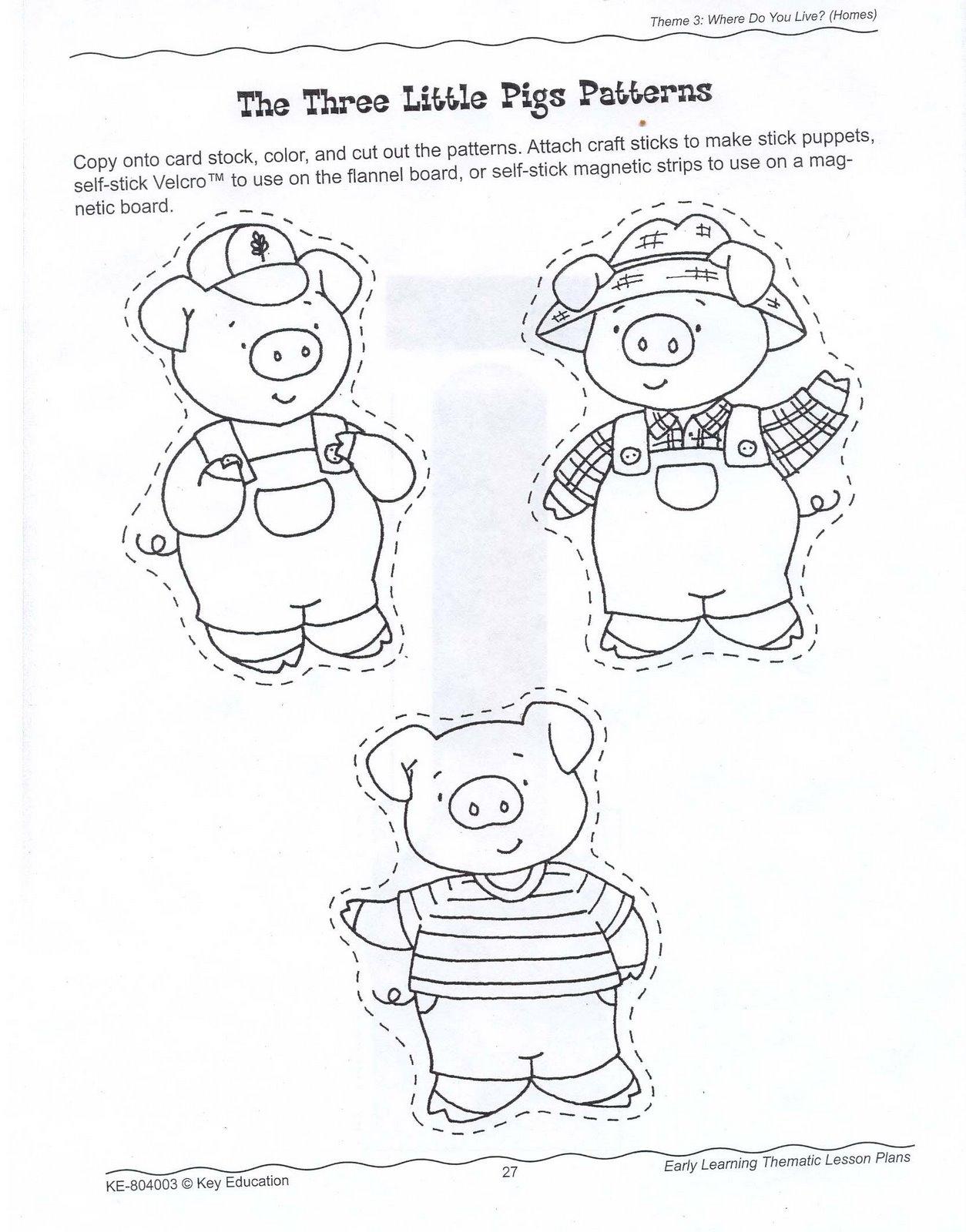 cut out character template - ensinando com carinho sequ ncia did tica os tr s porquinhos