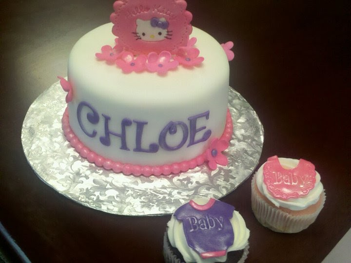 and j delights hello kitty baby shower cake and cuppies