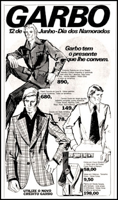 propaganda Lojas Garbo anos 70; moda masculina década de 70; moda anos 70; propaganda anos 70; história da década de 70; reclames anos 70; brazil in the 70s; Oswaldo Hernandez