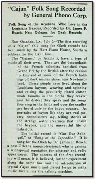 Early cajun music september 2014 article about roachs recording stopboris Images