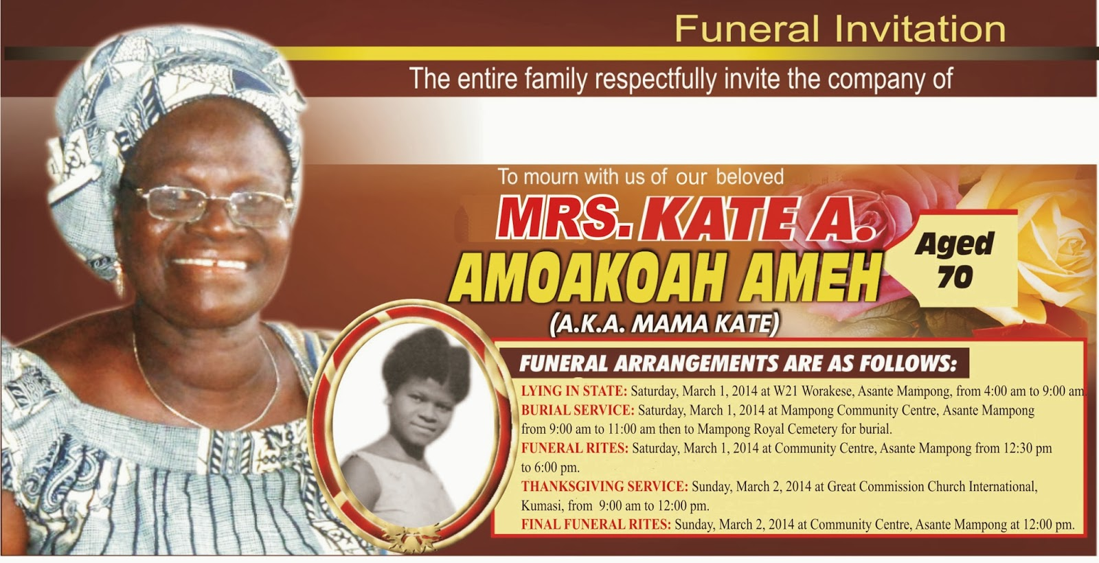 Eddie Amehs small corner February 2014 – Funeral Invitation Cards