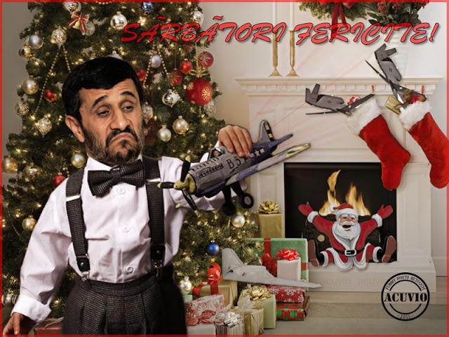 Funny photo Mahmoud Ahmadinejad Barack Obama Drona Felicitari sarbatori iarna