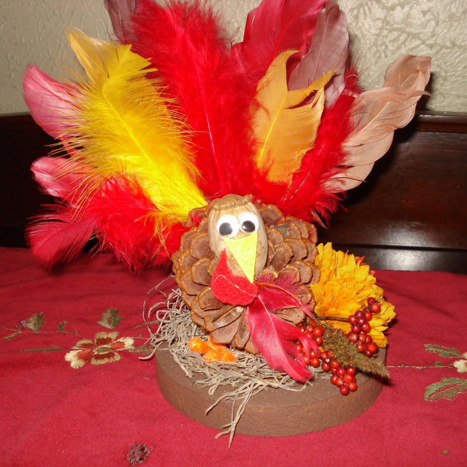 Elder life engagement pinecone turkey centerpiece