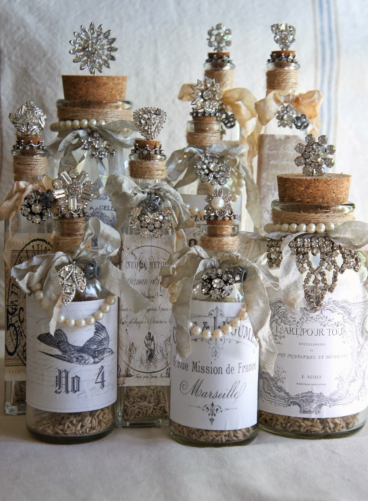 Vintage Adorned Decorative Bottles
