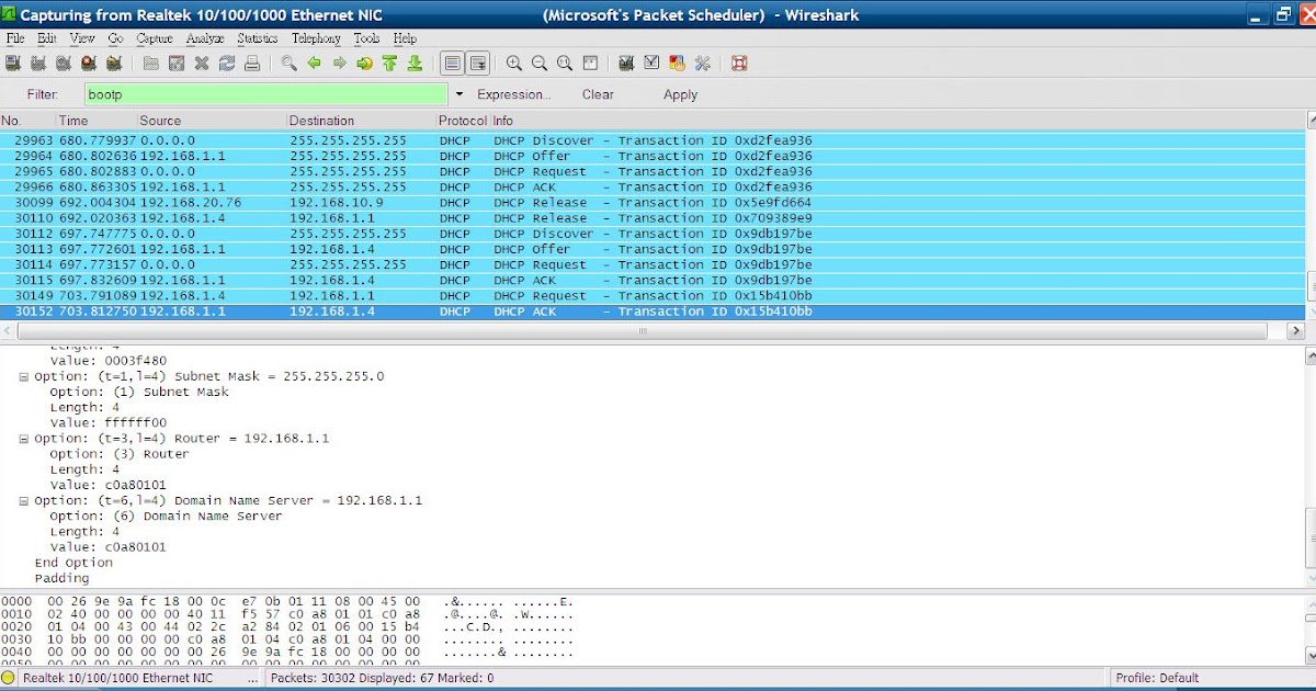 NelsonChung\'s blog: wireshark 只過濾出DHCP封包